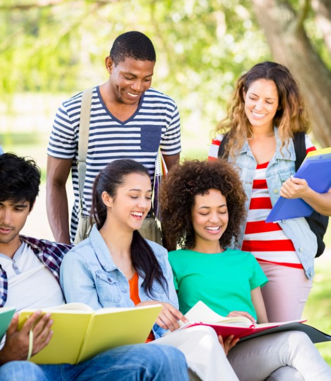cheerful-students-studying